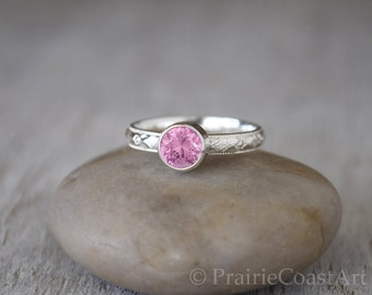 Pink Tourmaline Ring in Sterling Silver - Handcrafted Tourmaline Ring -  Pink Tourmaline stacking Ring - October Birthstone Ring