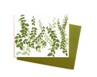 Sage and Olive Green Garden Thank You Notes Blank Greeting Card Set
