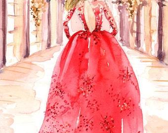 Custom Fashion Illustration-Family Portrait Fashion Sketch Couture Runway Wedding Bride Groom Bridesmaid Sketch Wallart Artwork
