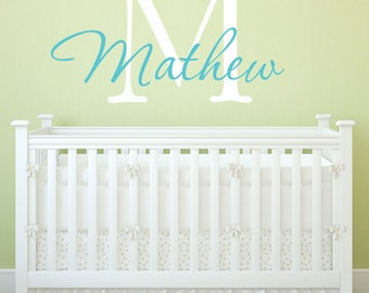 Custom Personalized Name And Initial Vinyl Wall Decal Sticker