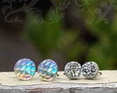 Mermaid Scales and Glitter Stud Earrings, Two Pair Set,  8mm Faux Silver Druzy, 10mm Clear Shimmer Dragonscales