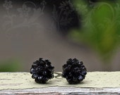 Mini Gothic Daisy Earrings, Black Flower Posts, Flower Studs, Bohemian, Stainless Steel or Titanium Posts