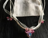 Handmade  Pink Vintage Bead Cluster and Ribbon Necklace with Vintage Miraculous Medal