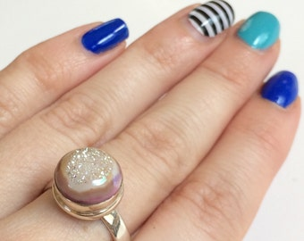 Angel Aura Quartz Ring, Pink Druzy Gemstone Ring, Crystal Ring set in Sterling Silver, Size 9