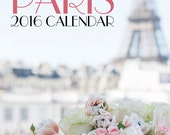 2016 Paris Photo Calendar - Romantic Paris, Eiffel Tower, Macarons, Carousel, Twinkle Lights, Loose Leaf Desk Calendar, Wall Art