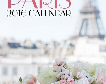 2016 Paris Photo Calendar - Romantic Paris, Eiffel Tower, Macarons, Carousel, Twinkle Lights, Loose Leaf Desk Calendar, Wall Art
