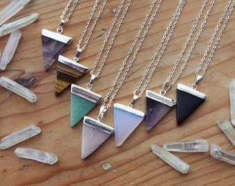 Silver Dipped Triangle Crystal Necklace - Quartz Agate Tigers Eye Rose Amethyst Dark Purple Raw Smooth Plated Chain Natural Healing Layering