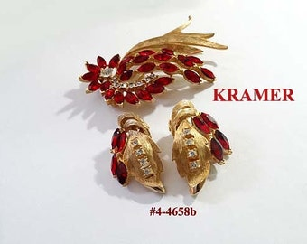 FREE SHIIP  - Signed Red Brooch and Earrings Set (4-4658)