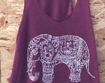 Painted Elephant Paisley Henna Art Tank T-shirt Ladies American Apparel