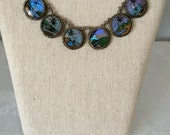 Blue Morpho Butterfly Wing Necklace...1940's Butterfly Wing Pendant...Tropical Beach Wedding...Bridesmaid Gift #3