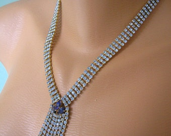 Blue Rhinestone Necklace, Montana,  Prom, Party, Gatsby, Tassel Necklace, Deco, Denim Blue, Navy Blue, Waterfall Necklace, Bridal Jewelry