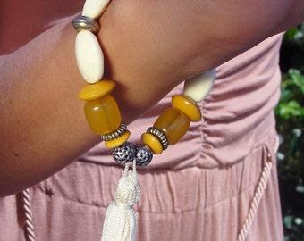 Unique upcycled 70's vintage beaded bracelet in cream yellow & silver tassel charm bracelet FESTIVAL
