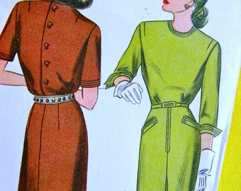 1940s  Simplicity  Pattern 1204 //  UNCUT //  Misses' Sophisticated Back Buttoned  Dress with Sleeve Options  // Size 16..bust 34