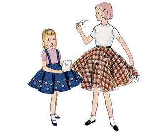 1950s Girls Skirt Pattern Circle Skirt and Petticoat with Flower Appliques Felt Suspender Skirt McCalls 9942 Size 10 Vintage Sewing Pattern
