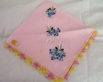 Vintage Pink and Blue Hankie with Hand Tatting 1970s