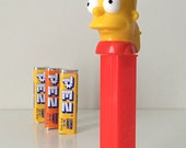 Vintage 90s Bart Simpson PEZ Dispenser with 3 Unopened Packs of PEZ Candies - Simpsons Collectible from the Mid-90's