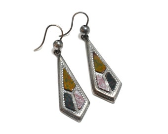 Victorian Scottish Bloodstone Pebble Earrings