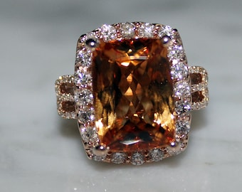 Imperial Topaz and Diamond Engagement Ring, AIGL Lab Report-Appraisal Included