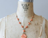1930s coral celluloid brass filigree necklace / 30s vintage Art deco faux coral floral bead necklace