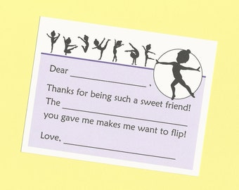 Gymnastics Silhouette - Fill in the Blank Post Card Notes - Thank You Cards for Gymnasts