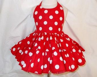 Red and White Polka Dot Twirly Halter Dress Sundress full ruffled skirt Infant Baby Toddler Girl 3-6M 6-12M 12-18M 18-24M 2T 3T 4T 5 6 7 8