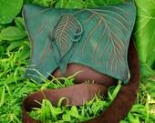 Medium Forest Purse / Soft Bullhide Leather Teal Green Leaf Brown Bag Renaissance LARP Fairy Woodland Nature Lover