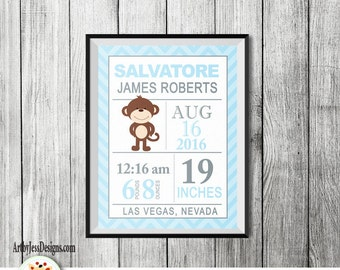 Modern Blue Monkey Baby Boy Birth announcement print, Custom Birth Statistic Wall Art, Baby Shower Gift, Nursery Wall Print