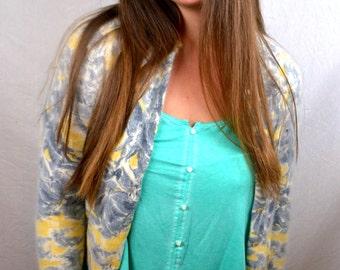 Vintage 1950s Yellow Gray Angora Cashmere Cardigan Sweater