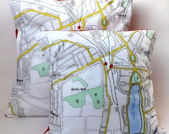 North Cardiff, Welsh Capital Vintage Town Map Red Fabric Backing, Hand Embroidered and Painted Cushion Cover 50 x 50cm