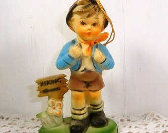 Vintage Hummel Like Christmas Ornament, Boy Hiking, Holiday Decor, Hard Molded Plastic, Made in Hong Kong, Year Round Ornament  (779-15)