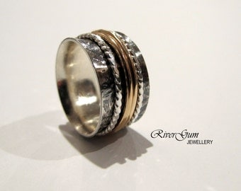 Spinner Ring, Sterling Silver and Gold Filled, Ladies Wide Band, Patterned Ring, Metalwork by RiverGum Jewellery, MADE TO ORDER