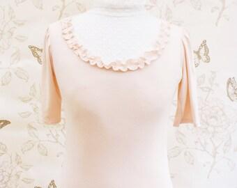 SALE Pink romantic heart victorian collar  top M