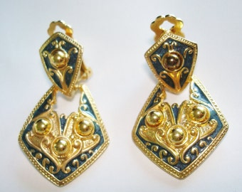 Blue Gold Tone  Vintage Jewelry Clip Earrings