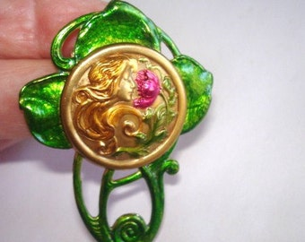 Lady Smelling Flowers Vintage Jewelry Brooch Multi Tone