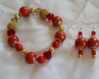 Venetian Red Wooden and Metallic Beaded Bracelet and Earring Set Handmade