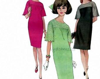 Vintage 1960s Pattern Yoked Shift Dress Optional Lace Yoke or Scallop Sleeves 1966 Mccalls 8552 Bust 34