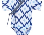 Baby Kimono Bodysuit - Blue Aztec - Baby summer outfit - cool baby clothes japanese jinbei onesie