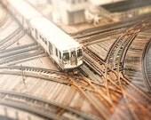 Chicago Train  Wall Art | CTA Photography | Chicago | urban decor | train tracks el train photograph | art for walls | city | brown, orange