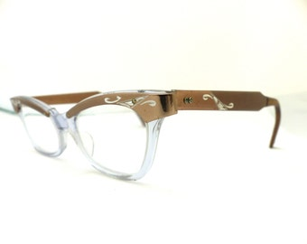 1950s Browline Cats Eye Eyeglasses // 50s Vintage Frames //  Taupeand Silver Engraved // // USA #A6