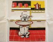 Vintage 40s Zito's Dogs Cotton Tea Towel