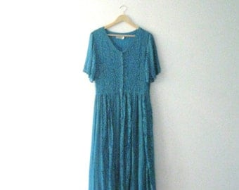 Vintage 80s turquoise maxi dress / rayon and lace Boho dress / Gypsy Festival turquoise maxi dress