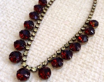 Vintage 1960,  Large Rootbeer Rhinestone Necklace.  Silver metal with Rootbeer colored and clear Rhinestones.  Hollywood Glamour.