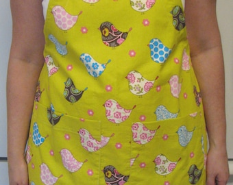 Women's Apron-Green and Pink Birds