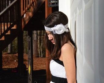 Baby White / Ivory Rosette Headband Tiara. Etsy Handmade Birthday, Baby Portrait Newborn, Big Day Holiday, Kid Fashion Statement Head Piece