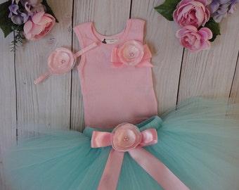 Aqua and Pink Tutu Dress, Baby Girls 1st Birthday Outfit, Flower Girl Dress