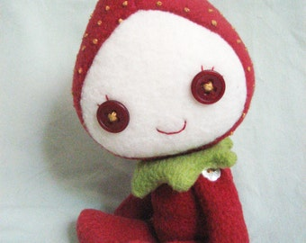 Strawberry Child – Handmade Poseable Doll