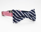 Adjustable Nautical Dog Collar with Bow- Anchor Print Dog Collar with Silver Tone Hardware