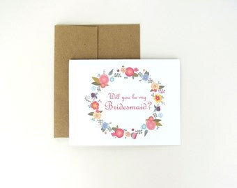 Floral Be My Bridesmaid Maid of Honor or Flower Girl Wedding Party Card and Envelope Blank Inside