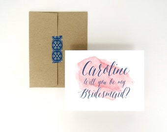 Personalized Will You Be My Bridesmaid Watercolor Wedding Party Linen Card and Envelope for Maid of Honor or Flower Girl