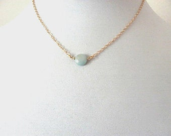 Single aqua blue amazonite stone necklace on delicate 14k gold plated chain, gemstone
